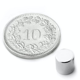 S-06-06-N Disco magnético Ø 6 mm, alto 6 mm, sujeta aprox. 1.5 kg, neodimio, N48, niquelado