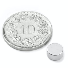 S-06-03-N Disco magnetico Ø 6 mm, altezza 3 mm, neodimio, N45, nichelato