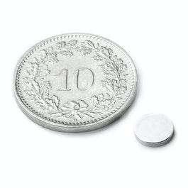 S-06-01-N Disc magnet Ø 6 mm, height 1 mm, neodymium, N45, nickel-plated