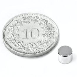 S-05-04-N Schijfmagneet Ø 5 mm, hoogte 4 mm, houdt ca. 860 gr, neodymium, N45, vernikkeld