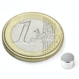 S-05-04-N Disc magnet Ø 5 mm, height 4 mm, neodymium, N45, nickel-plated