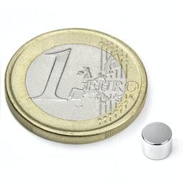 S-05-04-N Scheibenmagnet Ø 5 mm, Höhe 4 mm, Neodym, N45, vernickelt