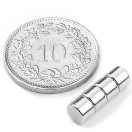 S-05-03-N Schijfmagneet Ø 5 mm, hoogte 3 mm, houdt ca. 700 gr, neodymium, N42, vernikkeld