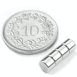 S-05-03-N Disc magnet Ø 5 mm, height 3 mm, neodymium, N42, nickel-plated