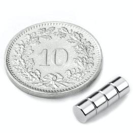 S-04-03-N Disc magnet Ø 4 mm, height 3 mm, neodymium, N45, nickel-plated