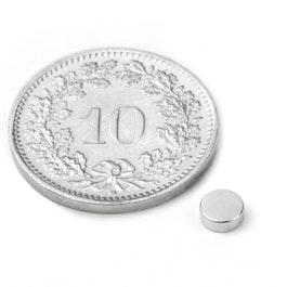 S-04-1.5-N Disco magnético Ø 4 mm, alto 1.5 mm, neodimio, N45, niquelado