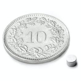 S-03-03-N Disco magnético Ø 3 mm, alto 3 mm, neodimio, N45, niquelado