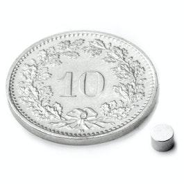 S-03-03-N Disque magnétique Ø 3 mm, hauteur 3 mm, néodyme, N45, nickelé