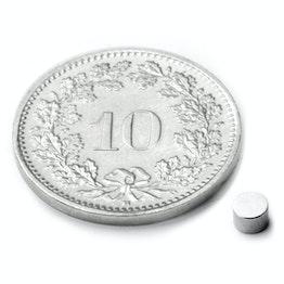 S-03-02-N Schijfmagneet Ø 3 mm, hoogte 2 mm, neodymium, N48, vernikkeld