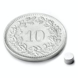 S-03-02-N Disco magnetico Ø 3 mm, altezza 2 mm, neodimio, N48, nichelato
