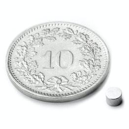 S-03-02-N Scheibenmagnet Ø 3 mm, Höhe 2 mm, hält ca. 300 g, Neodym, N48, vernickelt