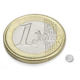 S-03-01-N Disc magnet Ø 3 mm, height 1 mm, neodymium, N48, nickel-plated