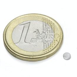 S-03-01-N Disque magnétique Ø 3 mm, hauteur 1 mm, tient env. 190 g, néodyme, N48, nickelé