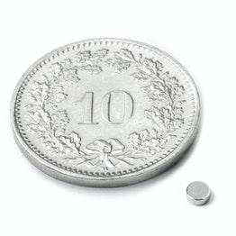 S-2.5-01-N52N Disc magnet Ø 2.5 mm, height 1 mm, neodymium, N52, nickel-plated