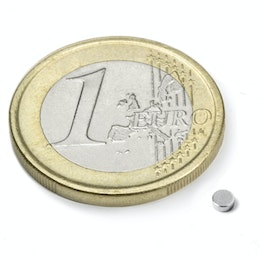 S-2.5-01-N52N Disc magnet Ø 2,5 mm, height 1 mm, neodymium, N52, nickel-plated