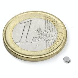 S-2.5-01-N52N Disc magnet Ø 2,5 mm, height 1 mm, neodymium, N52, nickel-plated