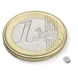 S-2.5-01-N52N Scheibenmagnet Ø 2,5 mm, Höhe 1 mm, hält ca. 160 g, Neodym, N52, vernickelt