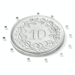 S-01-01-N Disco magnético Ø 1 mm, alto 1 mm, neodimio, N45, niquelado