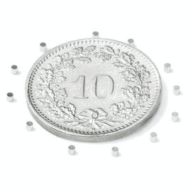 S-01-01-N Disc magnet Ø 1 mm, height 1 mm, neodymium, N45, nickel-plated