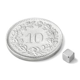 W-03-N Cube magnétique 3 mm, néodyme, N45, nickelé