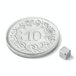 W-03-N Cubo magnético 3 mm, neodimio, N45, niquelado