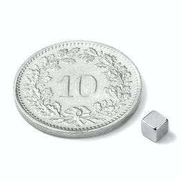 W-03-N Cubo magnetico 3 mm, tiene ca. 290 g, neodimio, N45, nichelato
