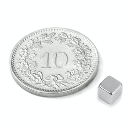 W-04-N Cubo magnético 4 mm, neodimio, N42, niquelado