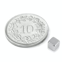W-04-N Cube magnétique 4 mm, tient env. 500 g, néodyme, N42, nickelé