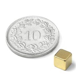 W-05-G Cube magnétique 5 mm, néodyme, N42, doré