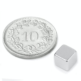 W-06-N Cubo magnetico 6 mm, tiene ca. 1.3 kg, neodimio, N42, nichelato