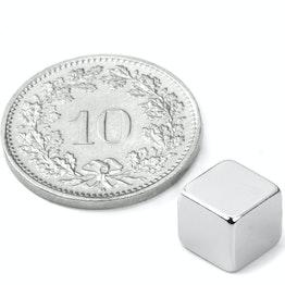 W-07-N Cube magnet 7 mm, neodymium, N42, nickel-plated