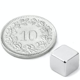 W-07-N Cubo magnético 7 mm, sujeta aprox. 1.6 kg, neodimio, N42, niquelado