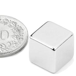 W-12-N Cube magnétique 12 mm, néodyme, N48, nickelé