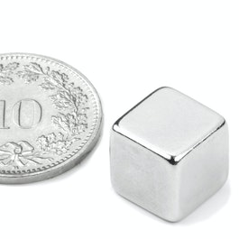 W-10-N Würfelmagnet 10 mm, Neodym, N42, vernickelt