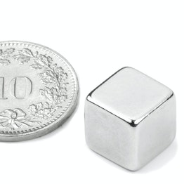 W-10-N Cube magnet 10 mm, holds approx. 3.8 kg, neodymium, N42, nickel-plated