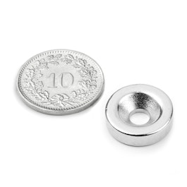 CS-S-15-04-N Disc magnet Ø 15 mm, height 4 mm, with countersunk borehole, N35, nickel-plated