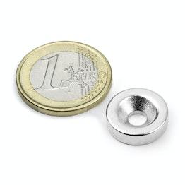 CS-S-15-04-N Disco magnético Ø 15 mm, 4 mm de alto, con taladro avellanado, N35, niquelado