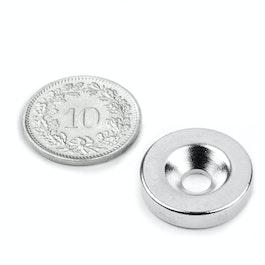 CS-S-18-04-N Disco magnetico Ø 18 mm, altezza 4 mm, con foro svasato, N35, nichelato