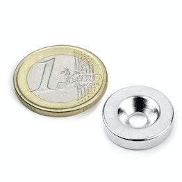 CS-S-18-04-N Disco magnético Ø 18 mm, 4 mm de alto, sujeta aprox. 4 kg, con taladro avellanado, N35, niquelado