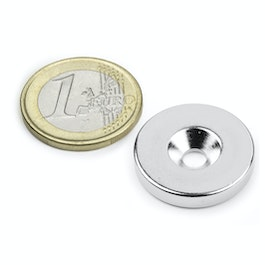 CS-S-23-04-N Disc magnet Ø 23 mm, height 4 mm, with countersunk borehole, N35, nickel-plated