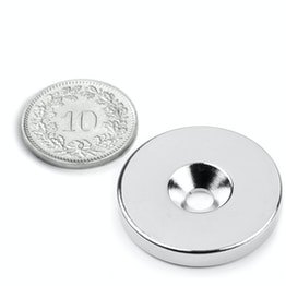 CS-S-27-04-N Disco magnético Ø 27 mm, 4 mm de alto, sujeta aprox. 8 kg, con taladro avellanado, N35, niquelado