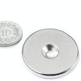 CS-S-34-04-N Disc magnet Ø 34 mm, height 4 mm, with countersunk borehole, N35, nickel-plated