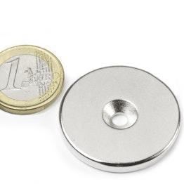CS-S-34-04-N Disco magnético Ø 34 mm, 4 mm de alto, con taladro avellanado, N35, niquelado