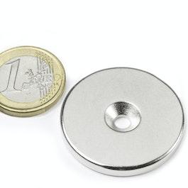 CS-S-34-04-N Disco magnetico Ø 34 mm, altezza 4 mm, con foro svasato, N35, nichelato