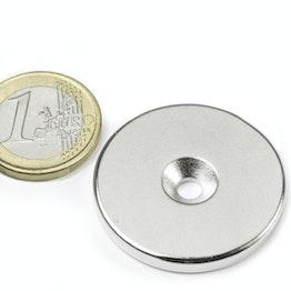 CS-S-34-04-N Disque magnétique Ø 34 mm, hauteur 4 mm, tient env. 10 kg, avec trou de fixation biseauté, N35, nickelé