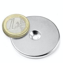 CS-S-42-04-N Disque magnétique Ø 42 mm, hauteur 4 mm, tient env. 12 kg, avec trou de fixation biseauté, N35, nickelé