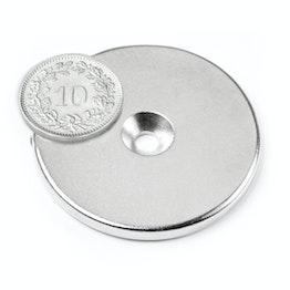 CS-S-42-04-N Disque magnétique Ø 42 mm, hauteur 4 mm, avec trou de fixation biseauté, N35, nickelé