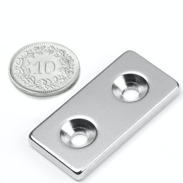 CS-Q-40-20-04-N Parallelepipedo magnetico 40 x 20 x 4 mm, tiene ca. 12 kg, con foro svasato, N35, nichelato