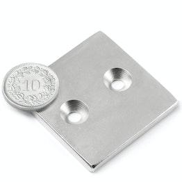 CS-Q-40-40-04-N Bloque magnético 40 x 40 x 4 mm, con taladro avellanado, N35, niquelado