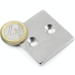 CS-Q-40-40-04-N Block magnet 40 x 40 x 4 mm, with countersunk borehole, N35, nickel-plated
